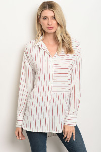 S14-10-3-T13331 IVORY WINE STRIPES TOP 2-2-1