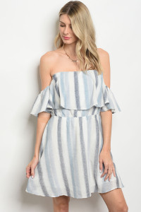 S13-1-4-D32174 WHITE BLUE STRIPES DRESS 3-2-1