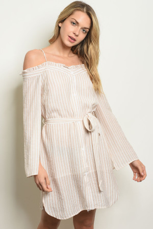 123-1-3-D32069 IVORY TAUPE STRIPES OFF SHOULDER DRESS 3-2-1