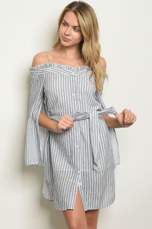 123-1-3-D32069 WHITE BLUE STRIPES OFF SHOULDER DRESS 3-2-1