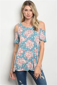 C40-A-1-T71164 TEAL FLORAL TOP 1-4-3