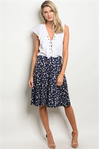 C37-B-2-S12081 NAVY FLORAL SKIRT 2-2-2