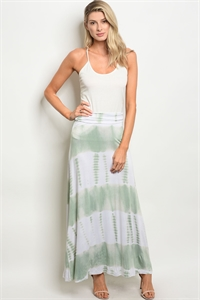 C35-A-2-S5605 IVORY SAGE TIE DYE SKIRT 2-2-2