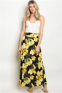 C25-A-4-S10165 BLACK YELLOW FLORAL SKIRT 2-2-2