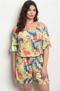 C101-A-4-J5780X YELLOW WITH PRINT PLUS SIZE ROMPER 2-2-2