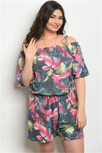 C99-A-5-J5780X CHARCOAL WITH PRINT PLUS SIZE ROMPER 2-2-2