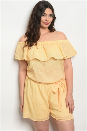C99-A-2-J5810X YELLOW PLUS SIZE ROMPER 2-2-2