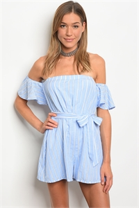 S14-10-6-R81434 BLUE WHITE STRIPES OFF SHOULDER ROMPER 2-2-2