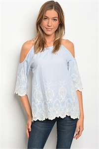 S14-10-4-T32106 BLUE WHITE STRIPES LACE OFF SHOULDER TOP 2-2-2