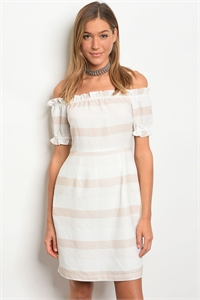 113-2-1-D62174 IVORY TAUPE STRIPES LACE DRESS 2-2-2