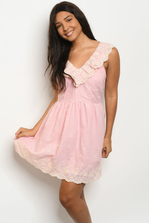 S22-2-5-D62722 PINK IVORY LACE DRESS 2-2-2
