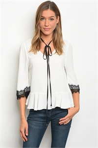 136-1-4-T32148 IVORY BLACK LACE TOP 3-2-2
