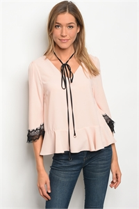 136-1-4-T32148 BLUSH BLACK LACE TOP 3-2-2