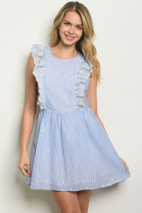 S14-8-4-D62723 BLUE WHITE STRIPES LACE DRESS 2-2-2