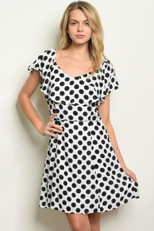 S22-5-2-D62195 WHITE BLACK DOTS OFF SHOULDER DRESS 2-2-2