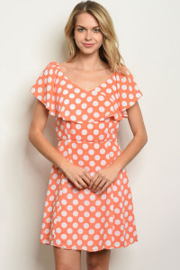 111-5-2-D62195 ORANGE WHITE DOTS OFF SHOULDER DRESS 2-2-2