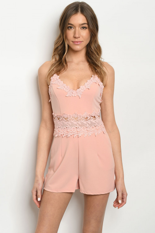 112-5-1-R81307 PINK LACE ROMPER 2-2-2