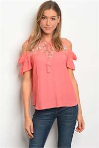 136-1-4-T31256 CORAL OFF SHOULDER TOP / 3PCS