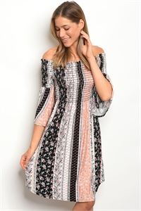 C47-A-4-D1804 BLACK PEACH FLORAL OFF SHOULDER DRESS 2-2-2