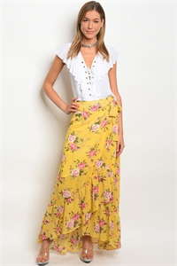 C23-A-1-S74004 YELLOW FLORAL SKIRT 1-3-3