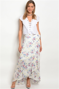 C26-A-7-S74004 IVORY FLORAL SKIRT 2-2-2