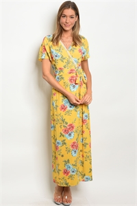 C30-A-2-D31675 YELLOW FLORAL DRESS 2-2-2