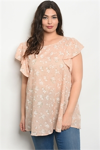 C24-B-5-T30505X PEACH WHITE PLUS SIZE TOP 2-2-2