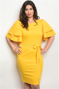 C34-A-2-D050233X YELLOW PLUS SIZE DRESS 2-2-2