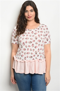 C36-B-3-T30513X PINK FLORAL PLUS SIZE TOP 2-2-2