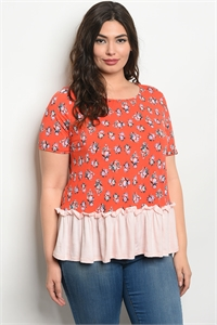 C36-B-4-T30513X RED FLORAL PLUS SIZE TOP 2-2-2