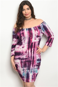 C38-A-3-D49024X PURPLE TIE DYE PLUS SIZE DRESS 2-2-2-1