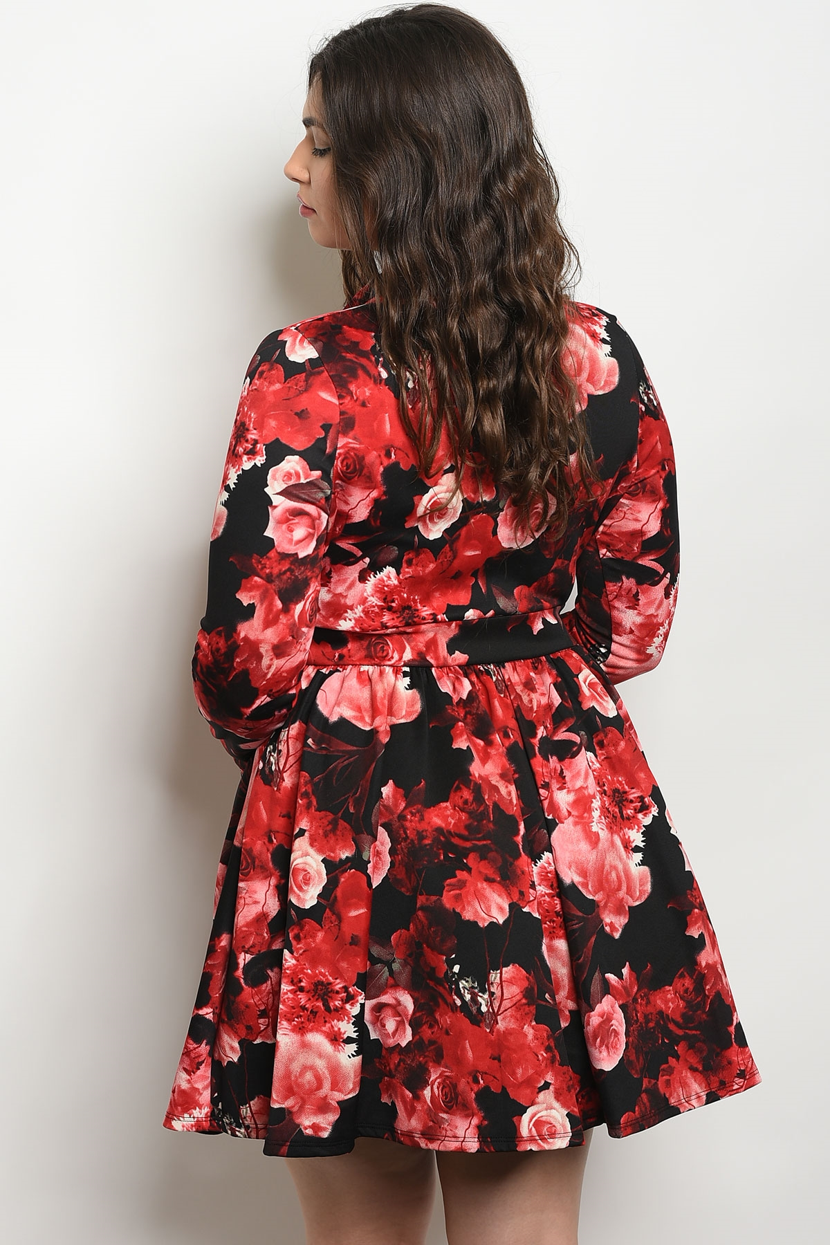 af478293b549 C33-A-1-D426532X BLACK RED WITH ROSES PLUS SIZE DRESS 2-2