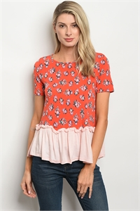 C39-B-2-T30513 RED FLORAL TOP 2-2-2