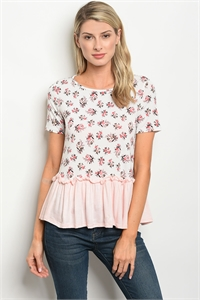C39-B-2-T30513 PINK FLORAL TOP 2-2-2