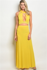 C43-A-2-SET2751 YELLOW TOP & SKIRT SET 2-2-2