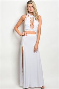 C41-A-2-SET2751 WHITE TOP & SKIRT SET 2-2-2