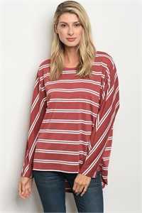 S15-2-4-T23665 BRICK WHITE STRIPES TOP 2-2-2