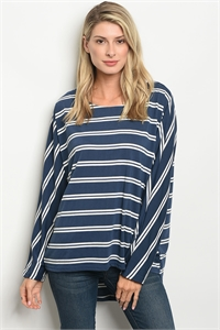 S15-2-4-T23665 NAVY WHITE STRIPES TOP 2-2-2