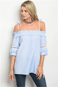 135-3-3-T9401 BLUE WHITE STRIPES TOP 2-2-2