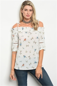 S11-14-2-T9401 WHITE FLORAL TOP 2-2-2