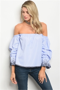 S15-1-5-T9370 BLUE WHITE STRIPES TOP 2-2-2