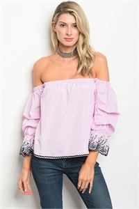 S14-12-3-T9370 PINK WHITE STRIPES TOP 2-1-1