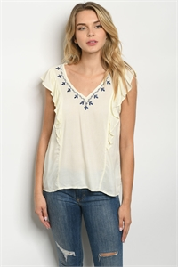 136-2-3-T9462 IVORY NAVY TOP 2-2-2