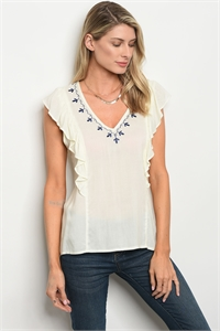 S14-12-3-T9462 IVORY NAVY TOP 3-2-2