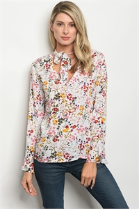 136-2-2-T9377 OFF WHITE FLORAL TOP 2-2-2