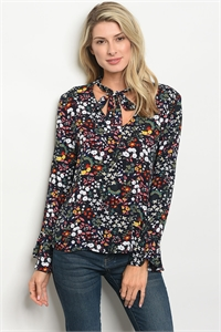 136-2-2-T9377 NAVY FLORAL TOP 2-2-2