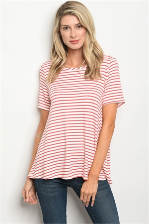 C53-B-2-T8069 IVORY RED STRIPES TOP 2-2-2