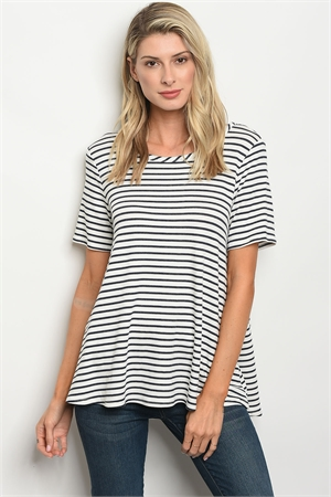 C53-B-2-T8069 IVORY BLACK STRIPES TOP 2-2-2