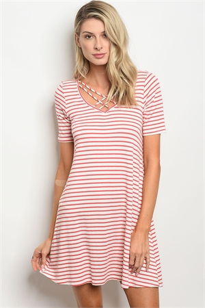 C49-A-2-D13695 IVORY RED STRIPES DRESS 2-2-2