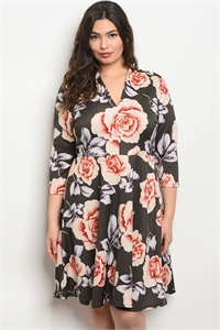 C54-A-3-D13029X OLIVE FLORAL PLUS SIZE DRESS 2-2-2
